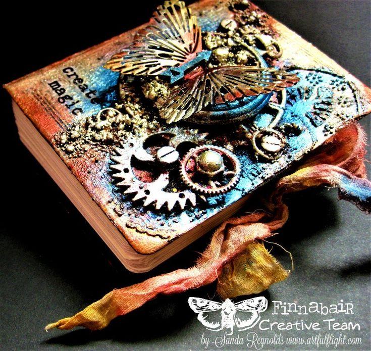 """Create magic"" - mixed media mini art journal cover"