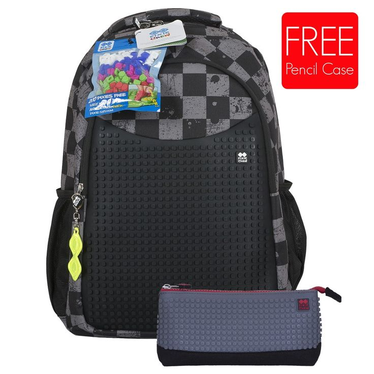 PIXIE CREW Student Backpack GREY CHEQUERED + Pencil Case SET