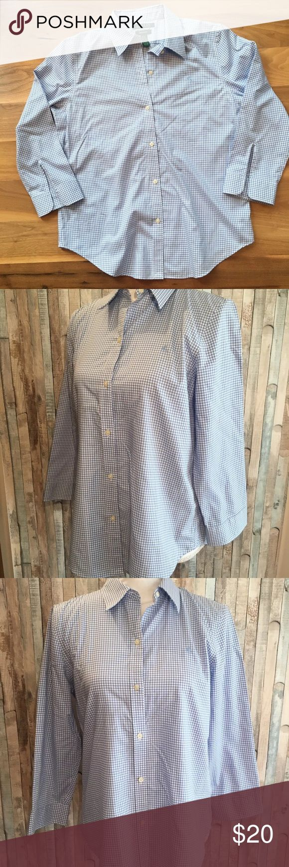 """LAUREN Ralph Lauren Gingham Non Iron Shirt LAUREN Ralph Lauren NON IRON Shirt Size: Medium Color:Blue and White Design: Gingham Sleeves: 3/4th Sleeve Materials:100% Cotton  Measurements (approximate) Length: 26"""" Underarm to underarm (laying flat): 20""""   Condition: Gently preowned, no stains or flaws Lauren Ralph Lauren Tops Button Down Shirts"""