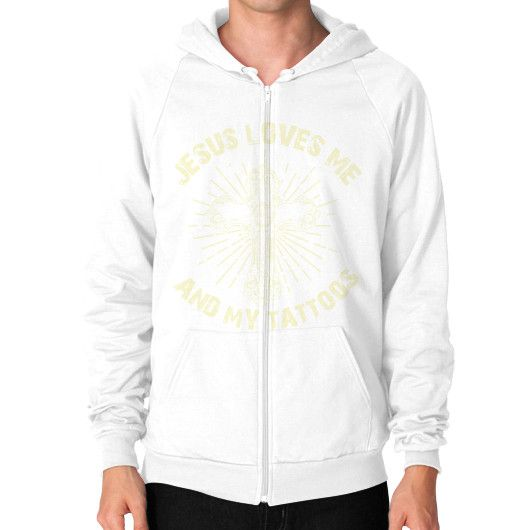 JUSUS LOVE ME Zip Hoodie (on man)