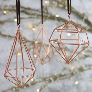 Set Of Three Geometric Copper Hanging Decorations - new in christmas