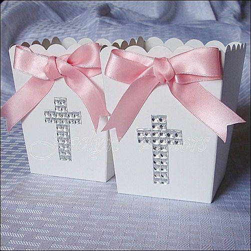 Girl's Baptism, Communion Rhinestone Cross Popcorn Favor Box, Candy Holder, Dessert Buffet Box