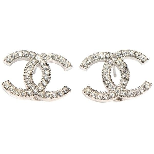 Pre-owned Chanel Earrings Cc Logo Crystal Silver Hardware Shw  Classic (30,440 DOP) ❤ liked on Polyvore featuring jewelry, earrings, accessories, crystal silver, black and white earrings, pre owned jewelry, sparkle jewelry, black and white costume jewelry and earrings costume jewelry