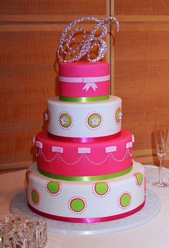 Hot Pink and Lime, like bottom layer. If I ever have a girl I want this as my baby shower cake!!!!!