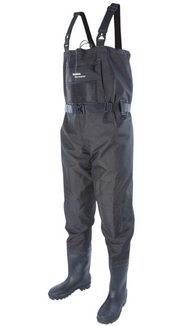 Wadermaster Waders  Our popular Wadermaster has been further improved by adopting the same pocket style, as used on our Prestige ST Breathable Waders. The tough 420D Ballistic nylon material, has an additional checked rip-stop pattern for even greater strength and durability They're not breathable and they're not lightweight. What they are is incredibly tough, durable and hard wearing.