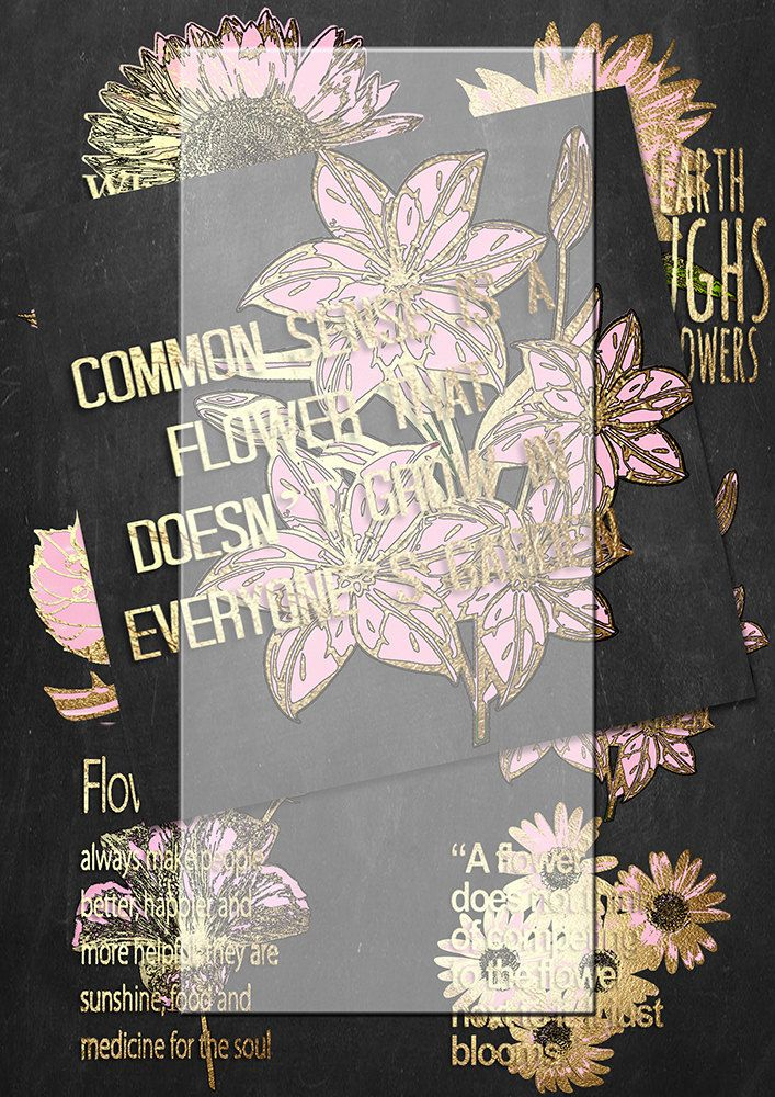 Handrawn png pink and gold flowers and quotes 2. plus gift by Lilymelba on Etsy
