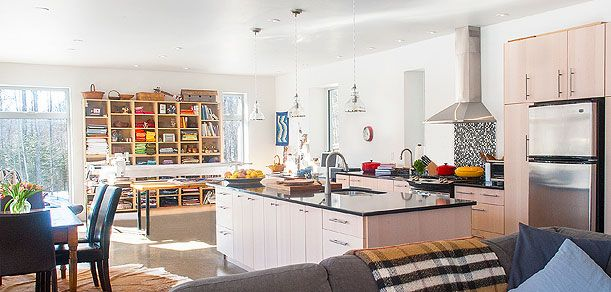 Clear Water Lodge   Off-Grid   Self-Build   Solares Projects   Solares Architecture - Great Room and kitchen area