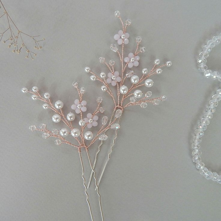Different headpieces from my store can be made on a rose gold wire. Hairpins custom-made