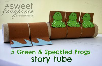 """5 Green and Speckled Frogs"" Story Tube. A fun, interactive activity to play with your young ones!"