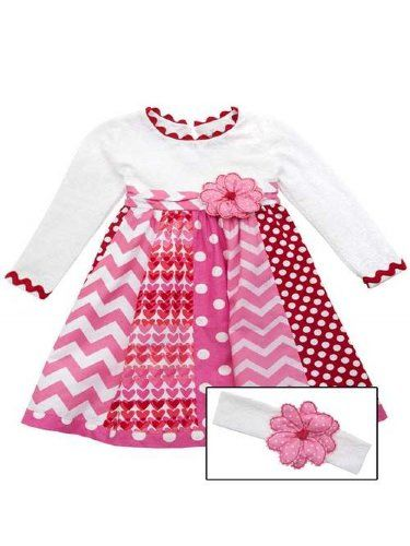 Rare Editions Big Girls Mixed Print Valentineu0027s Day Dress