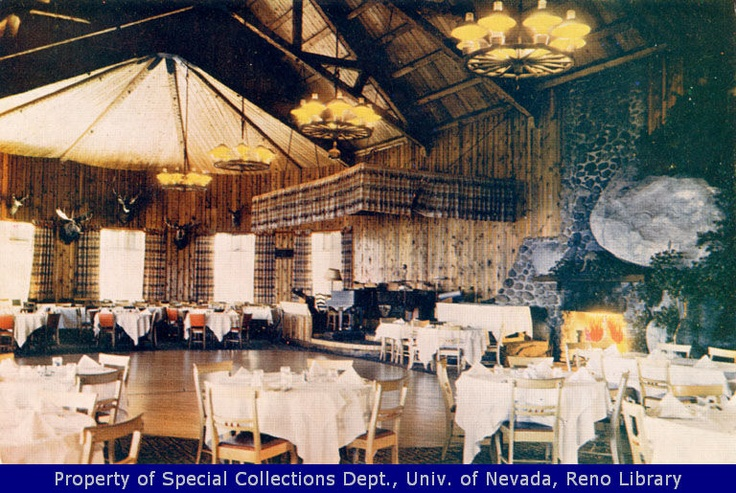"""Cal-Neva Lodge, 1970.  Caption on image: """"From the wold famous Cal-Neva Lodge, 'The Castle in the Air.'"""" Photograph of a dining room in the Cal-Neva Lodge at Lake Tahoe; postcard.  Cal-Neva Lodge, Crystal Bay, Nevada"""