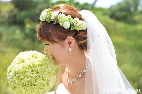 hk00197 緑色の幅広花冠&リストレット アーティフィシャルフラワー @ハワイ ys floral deco