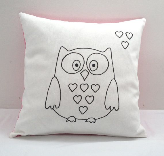 Colouring In Owl Design Cushion Cover | Kids Hand Drawn Black