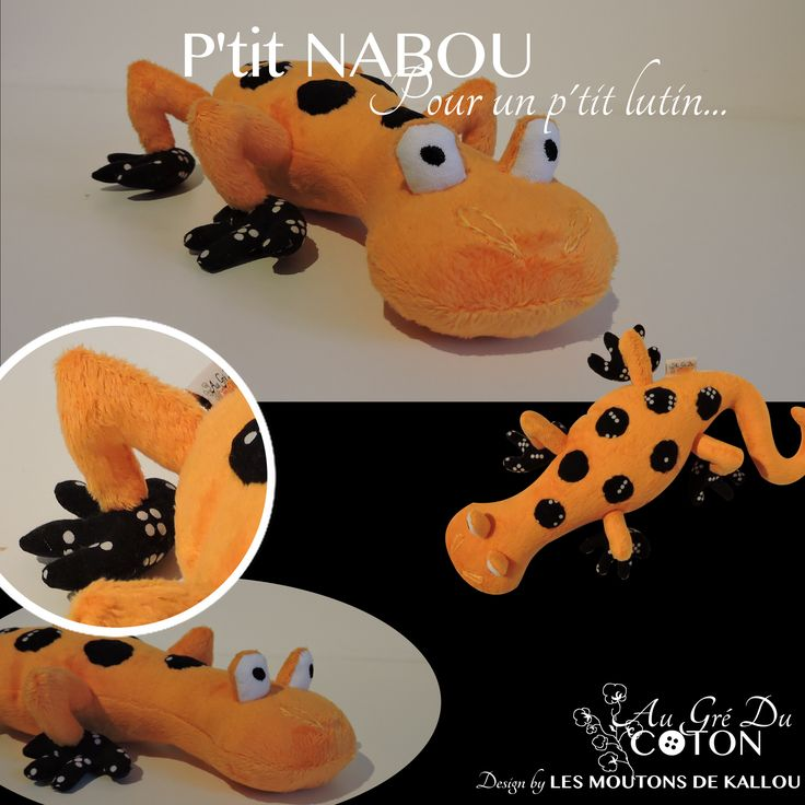 P'tit #Nabou adopté   Novembre 2015 Patron : Les Moutons de Kallou Tissus : Minkee orange à relief étoilé et coton black domino