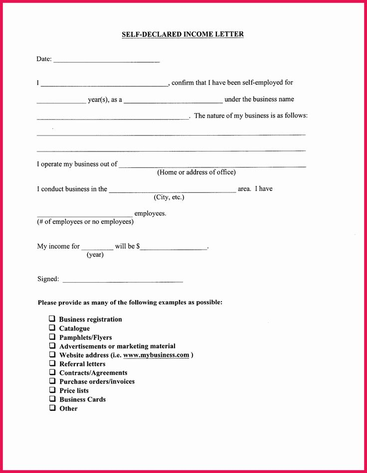 Self Employment Income Statement Template Inspirational ...