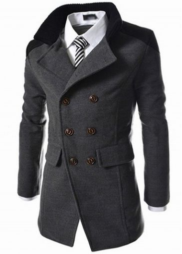 Turndown Collar Double Breasted Men Grey Coat on sale only US$51.70 now, buy cheap Turndown Collar Double Breasted Men Grey Coat at modlily.com