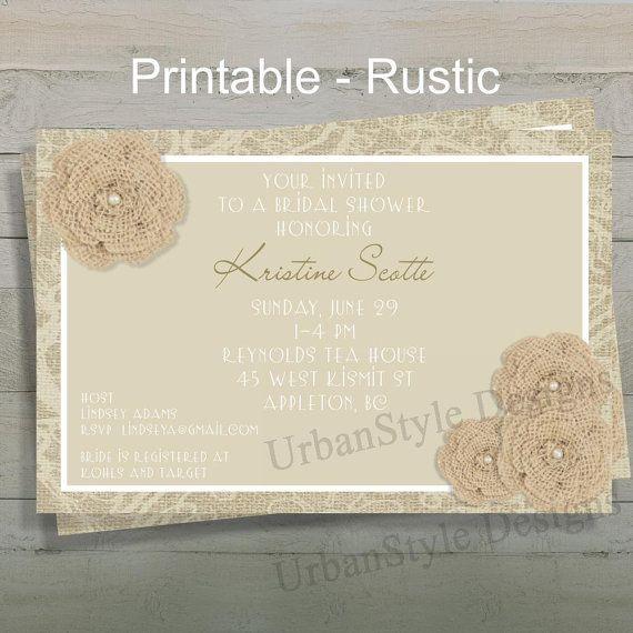 Rustic Bridal Shower/wedding Invitation, Burlap and Lace Invitation, Printable DIY, Country Wedding Invitation