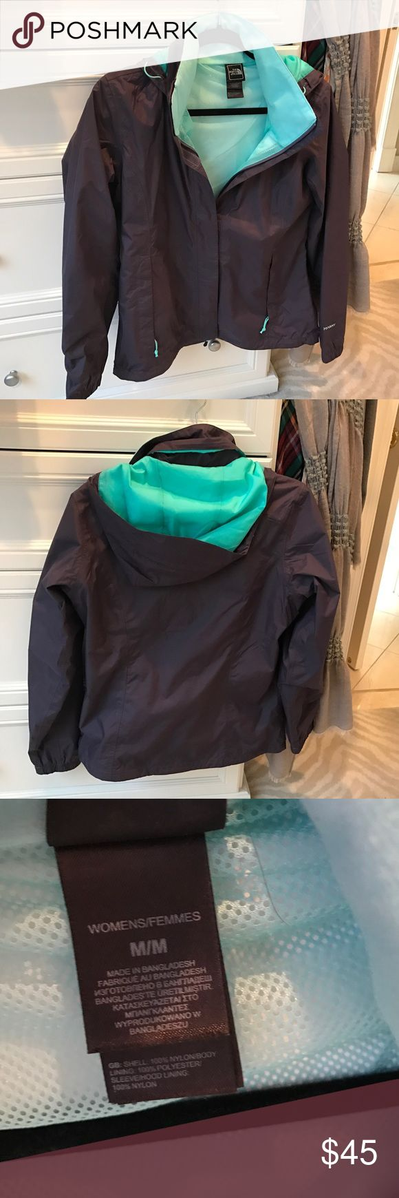 The North Face Women's Rain Jacket Excellent Condition, no stains or flaws, charcoal grey and green The North Face Jackets & Coats