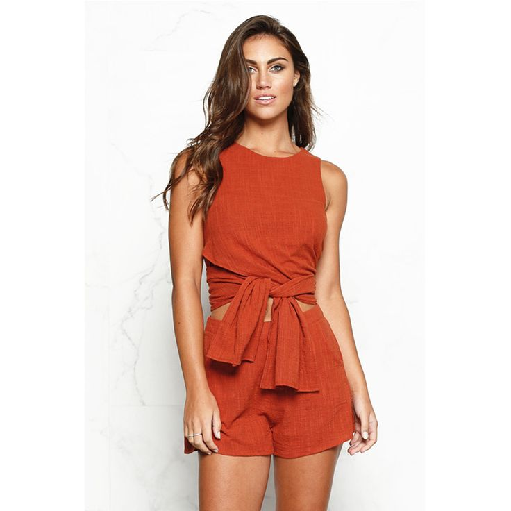 Charlee Cooper Orange Round Neck Sleeveless Two Piece Boho Beach Dress