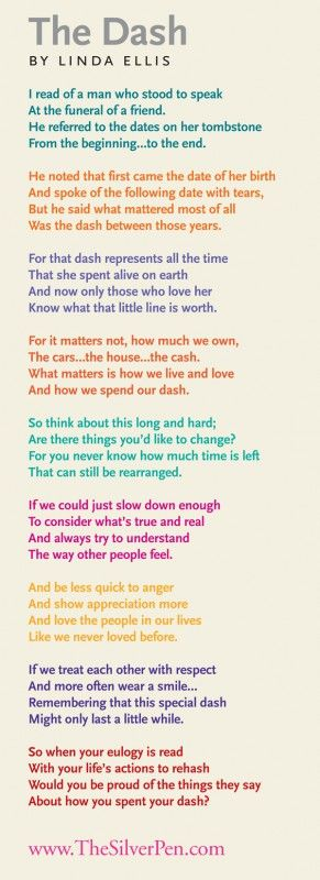 The Dash by Linda Ellis ...my Mom did this poem with her 6th graders the year sh...