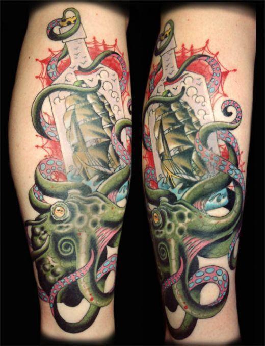 Http Tattoomagz Com Octopus Tattoos On Legs Green Ship And Octopus Tattoo On Leg Tattoos Leg Tattoos Octopus Tattoos