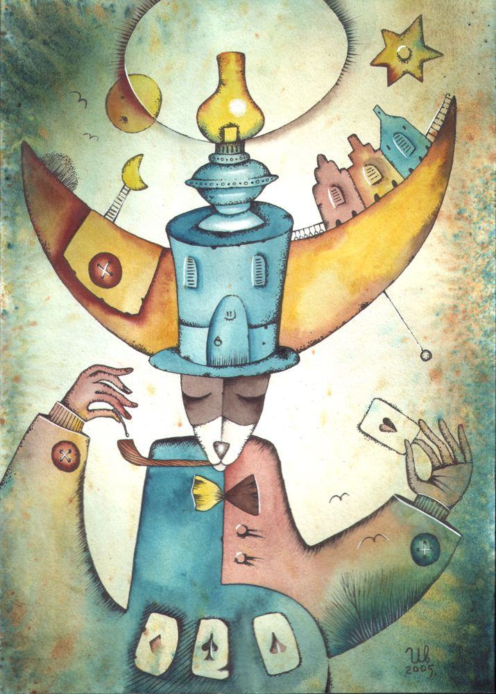 Divination by Eugene Ivanov, watercolor, 2005.  #eugeneivanov #funnycats #funny #cat #@eugene_1_ivanov