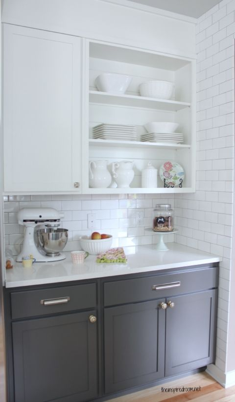 gray lower cabinets dove white upper cabinets