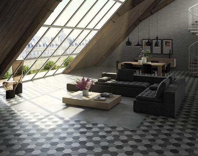 75 best images about decoraci n con baldosas cer micas on for Pavimento ceramico hexagonal