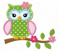Girl Owl 3 Applique - 3 Sizes! | Featured Products | Machine Embroidery Designs | SWAKembroidery.com Fun Stitch