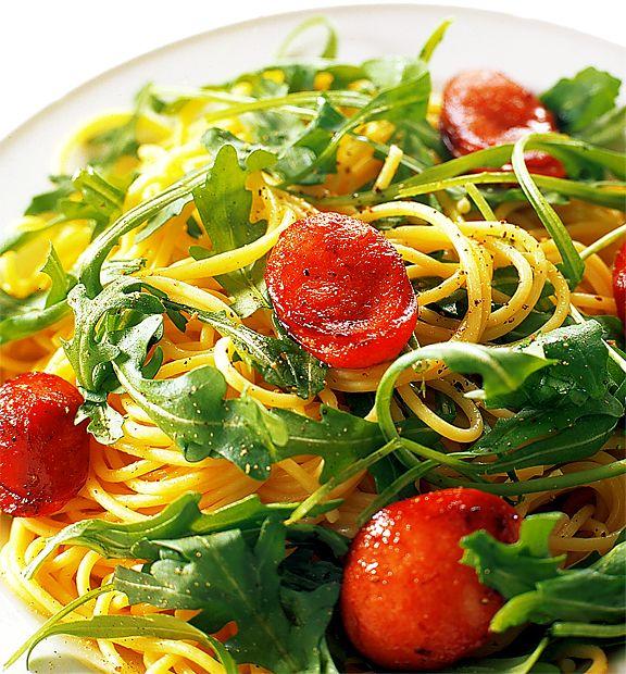 Pasta med chorizo och rucola | Recept.nu