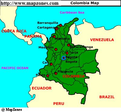 columbia south america | MapZones.com : Colombia Map