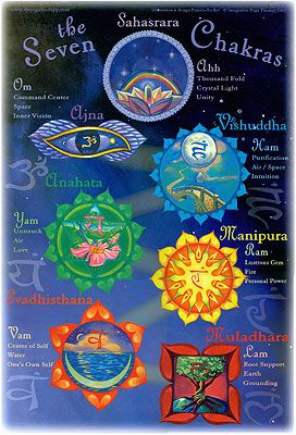 The Seven Chakras, poster is a vibrant depiciton of these important energy centers accompanied by their Sanskrit names, bij mantras, earth elements, main areas influenced and more.   www.yogalifestyle.com