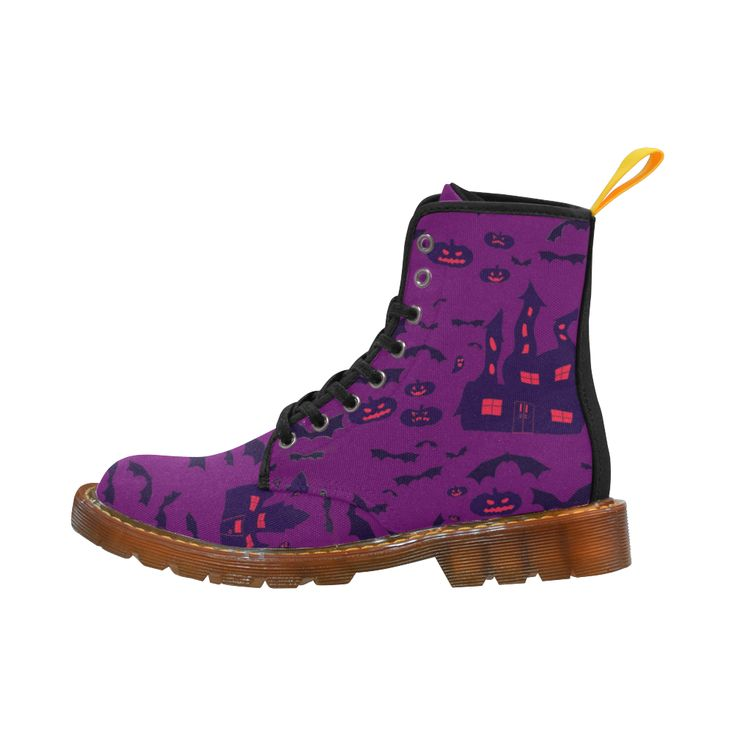 Purple Haunted Houses Martin Boots For Women Model 1203H.