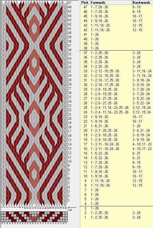 26 tarjetas, 3 colores, repite cada 34 movimientos // sed_267 diseñado en GTT༺❁