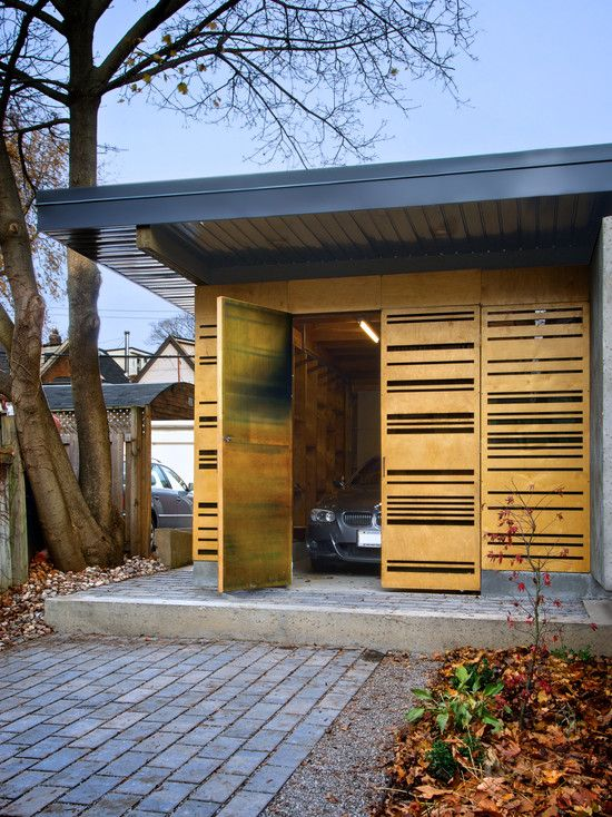 Stylish Auto Garage Design with Illumination Lighting Idea : Sontemporary Garage And Shed Design Garden Pavilion Eaton Avenue