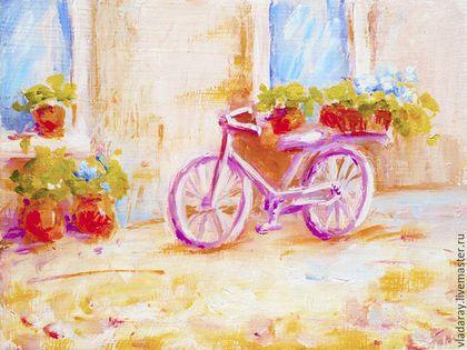 Купить или заказать картина 'Прованские истории' в интернет-магазине на Ярмарке Мастеров. Картина 'Прованские истории' с сиреневым велосипедом и корзинкой цветов на залитой солнцем улочке радует взор и приносит уют в комнату. Летние теплые краски, свежий ветер, развевающий ароматные травы, корзинка полная нежных цветов... Доставка бесплатна. Дополнительная услуга: быстрое оформление картин в рамы, избавляющая вас от хлопот по поиску багетной мастерской и потери времени.
