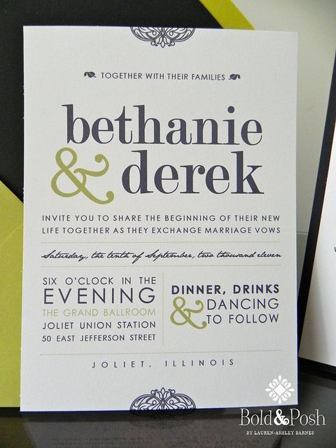 Invitation- I like how all the info. is on one sheet- I never understand why invitations seem to require so much paper??