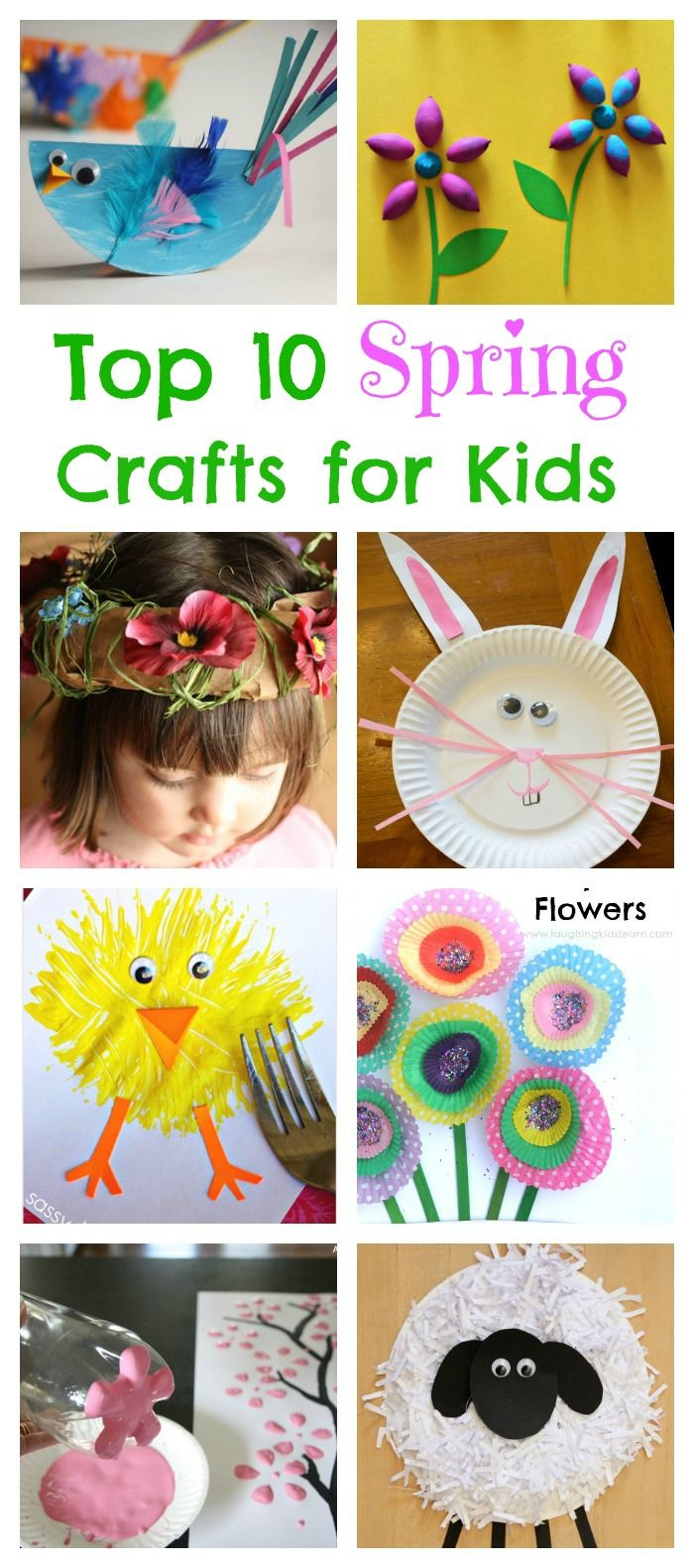10 Fun and Cute Spring Crafts for Kids. Flower Crafts, Butterfly craft, Bunny Craft, Sheep Craft, Chick Craft and More!