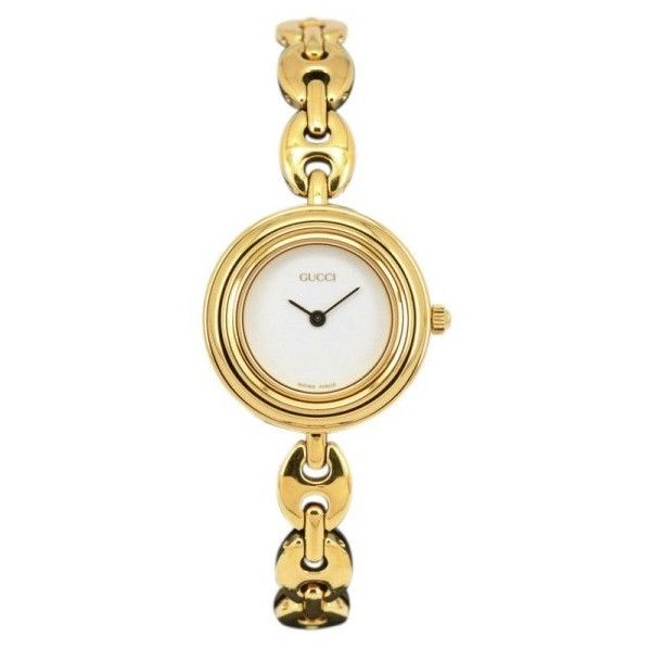 Pre-owned Gucci 11/12.2 Gold Plated Quartz 26mm Womens Watch ($273) ❤ liked on Polyvore featuring jewelry, watches, white dial watches, white jewelry, gucci jewellery, pre owned watches and quartz watches