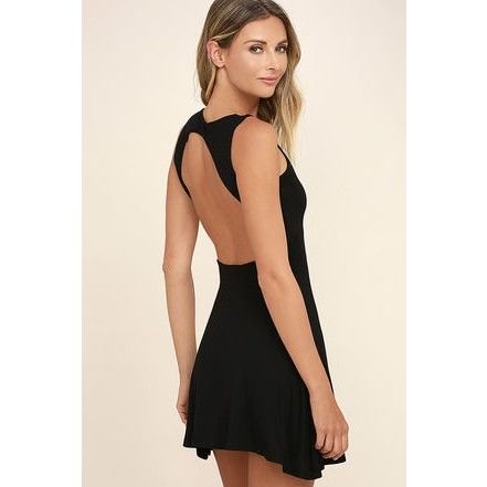 In the Cards Black Backless Skater Dress