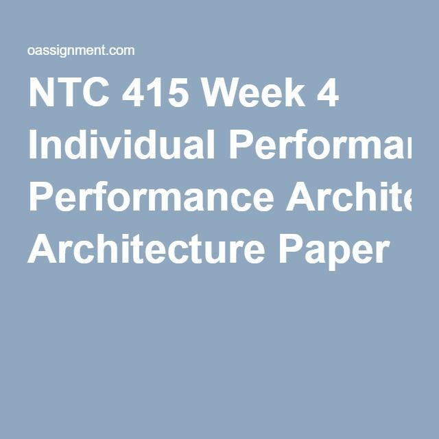 ntc 415 week 4 individual performance Ntc 362 week 3 individual: hosting in the cloud scenario: in analyzing the network performance at the bedford campus, one issue that has come to light is the insufficient network and server infrastructure that is in place to support delivery of the school's learning management system (lms) and exchange email service over the public internet to a growing student body.