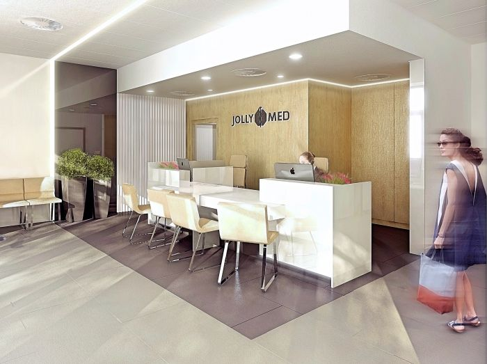 Reception desk in Jolly-Med Hospital in Warsaw, Poland