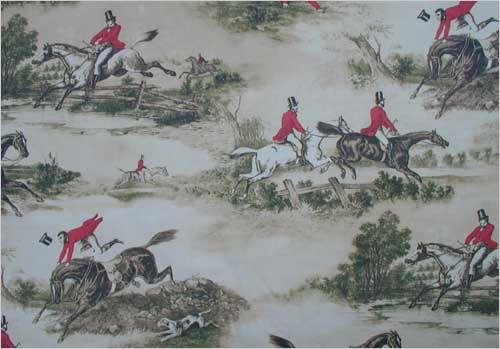 Hunting Scenes Linen Union Fabric Hunting Scenes fabric -in cream, red and green