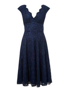 Ariella Lace v neck full skirt dress Navy - House of Fraser
