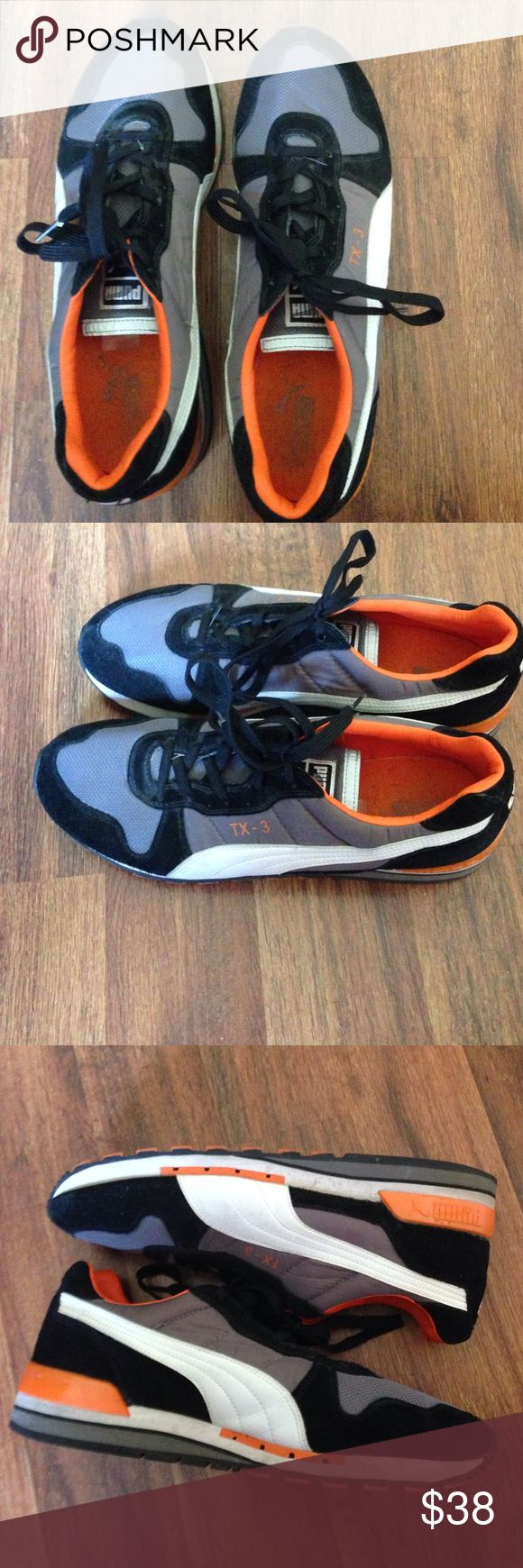 Men's Puma TX-3 sports shoes Men's Puma shoes - gray, orange, white, and black color. TX-3 model. Worn a few times. Overall good condition. Puma Shoes Sneakers
