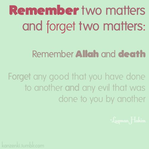 remember 2 matters n forget 2 matters