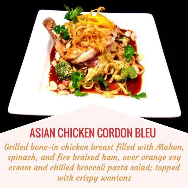 ... braised ham, over orange soy cream and chilled broccoli pasta salad