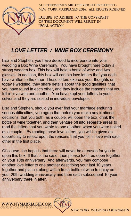 Wine Box Love Letter Ceremony, Sample Wedding Ceremonies, New York Wedding Officiant, Long Island Justice of the Peace