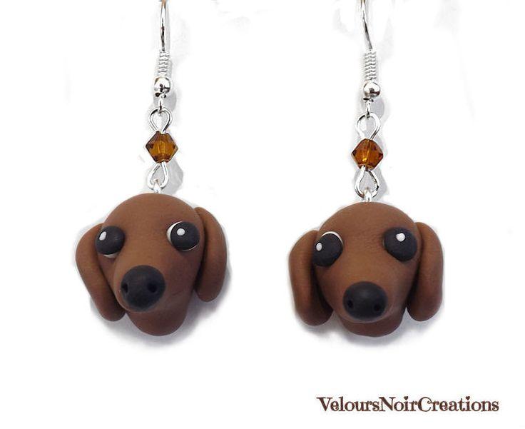 dachshund earrings polymer clay