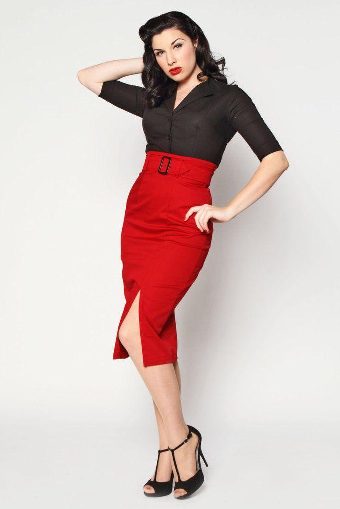 Vogue 1950s Red  Pencil Skirt - Red $0.00 AT Vintagedancer.com
